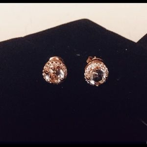 White Sapphire Stud Earrings in Rose Gold
